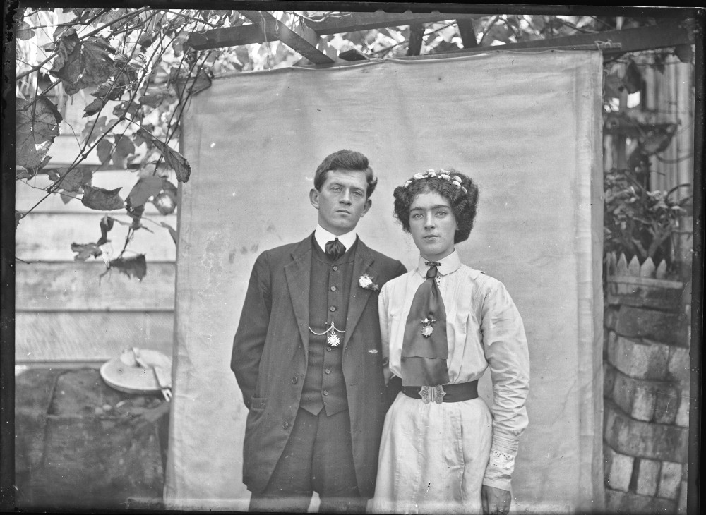 C P Dawes.  Unidentified young man and woman . Auckland Libraries Heritage Collections 1142-D333