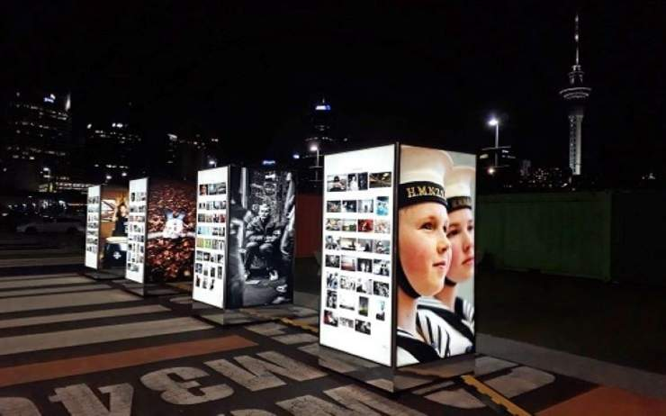 Winners and finalists' images from the 2018 Auckland Photo Day exhibited at Auckland Viaduct Harbour, 2019