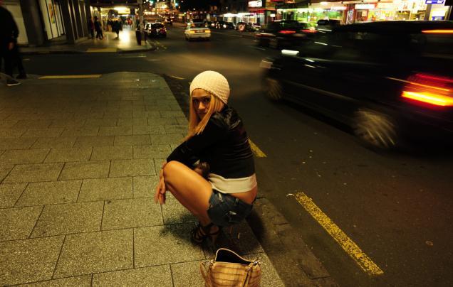 Peter James Quinn :  At the East St corner, Kirra Lee begins a Saturday night shift on Karangahape Road, Auckland.