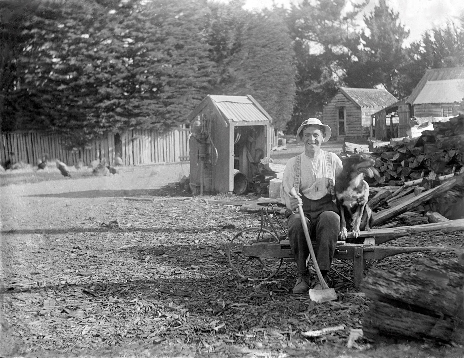 Firewood is sorted. Man posing with dog and axe. New Zealand (possibly in Fielding)  circa 1907-11. Lemuel Lyes Collection.
