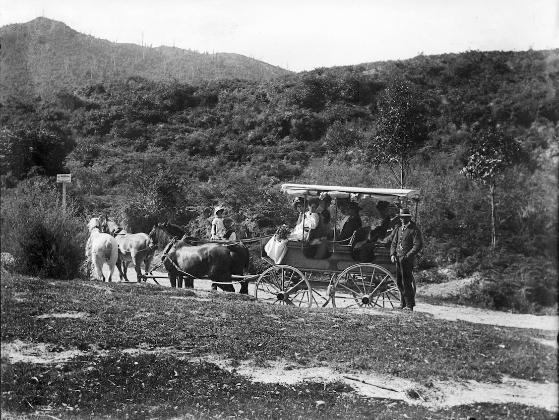 Edwardian tourists visiting Te Wairoa, circa 1907-1911. Lemuel Lyes Collection.
