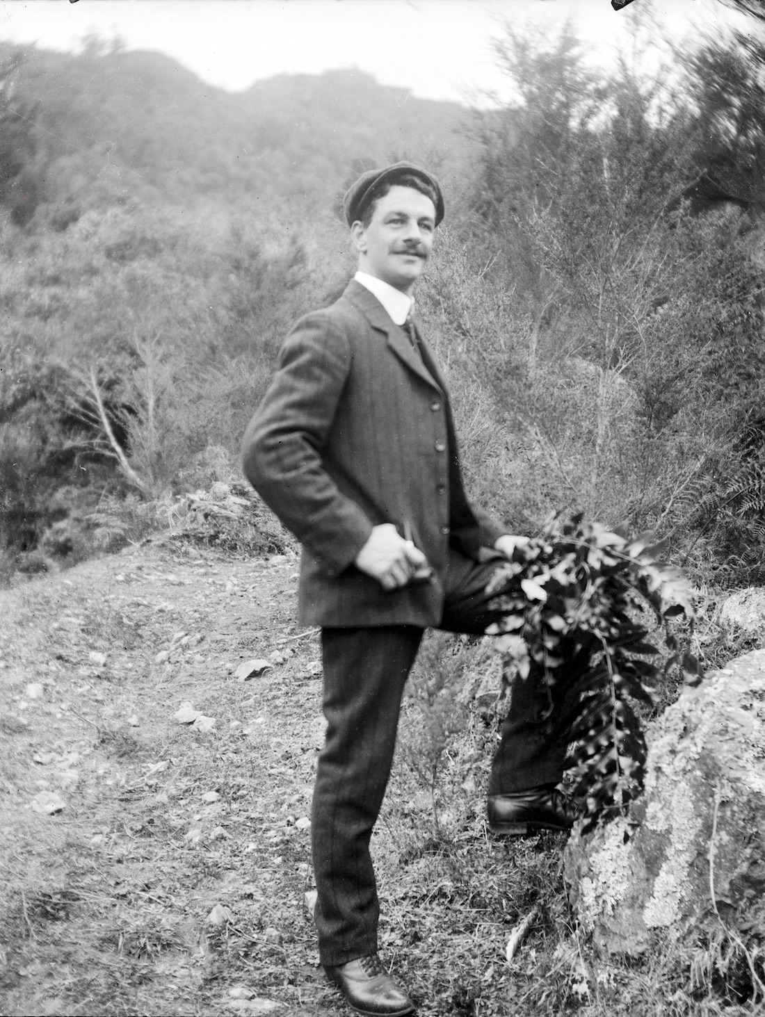 Outdoors portrait of Frederick William Campbell, New Zealand circa 1907-1916. Lemuel Lyes Collection.