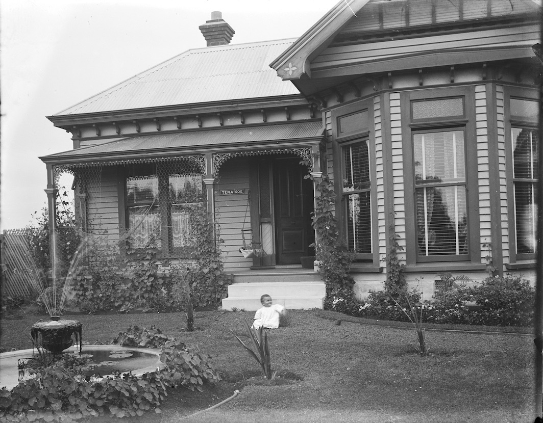 The 'Tena Koe' house, Madras Street, Christchurch, circa 1911-1916. Lemuel Lyes Collection