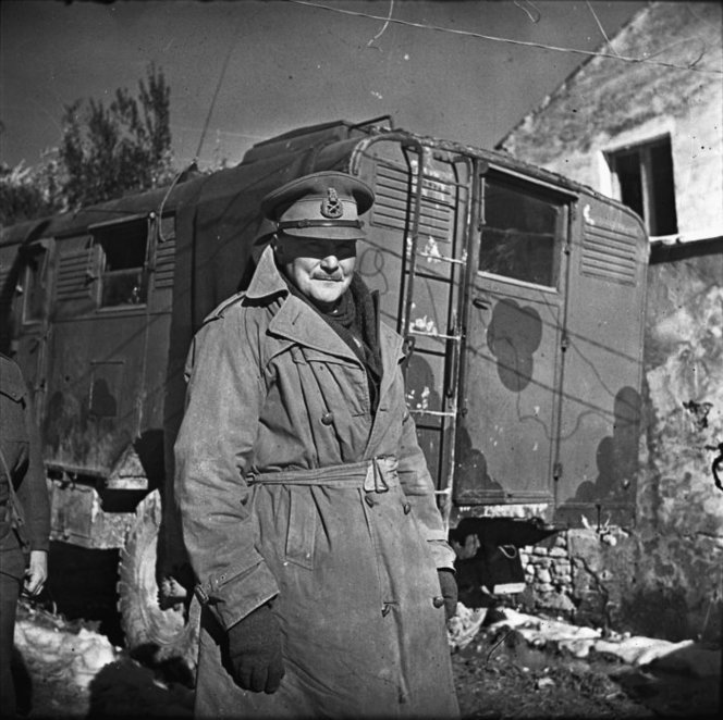 Bernard Cyril Freyberg standing beside truck. New Zealand. Department of Internal Affairs. War History Branch :Photographs relating to World War 1914-1918, World War 1939-1945, occupation of Japan, Korean War, and Malayan Emergency. Ref: 1/4-019536-F. Alexander Turnbull Library, Wellington, New Zealand. /records/23183506