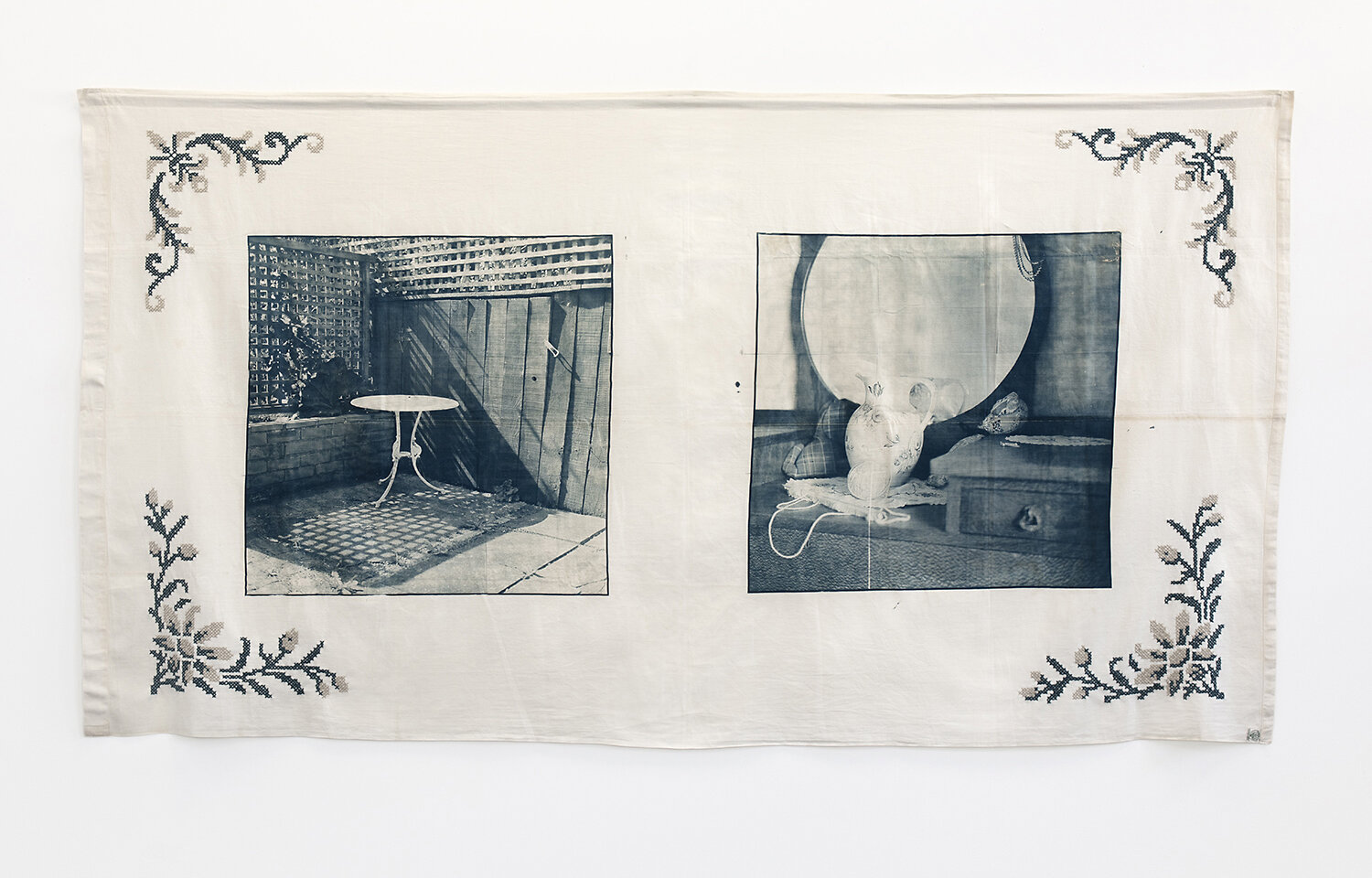 Caroline McQuarrie,  Reasons For Silence (i) , from the series  Reasons For Silence , cyanotype and wool embroidery on vintage cotton bed sheet, 2010. Courtesy the artist.