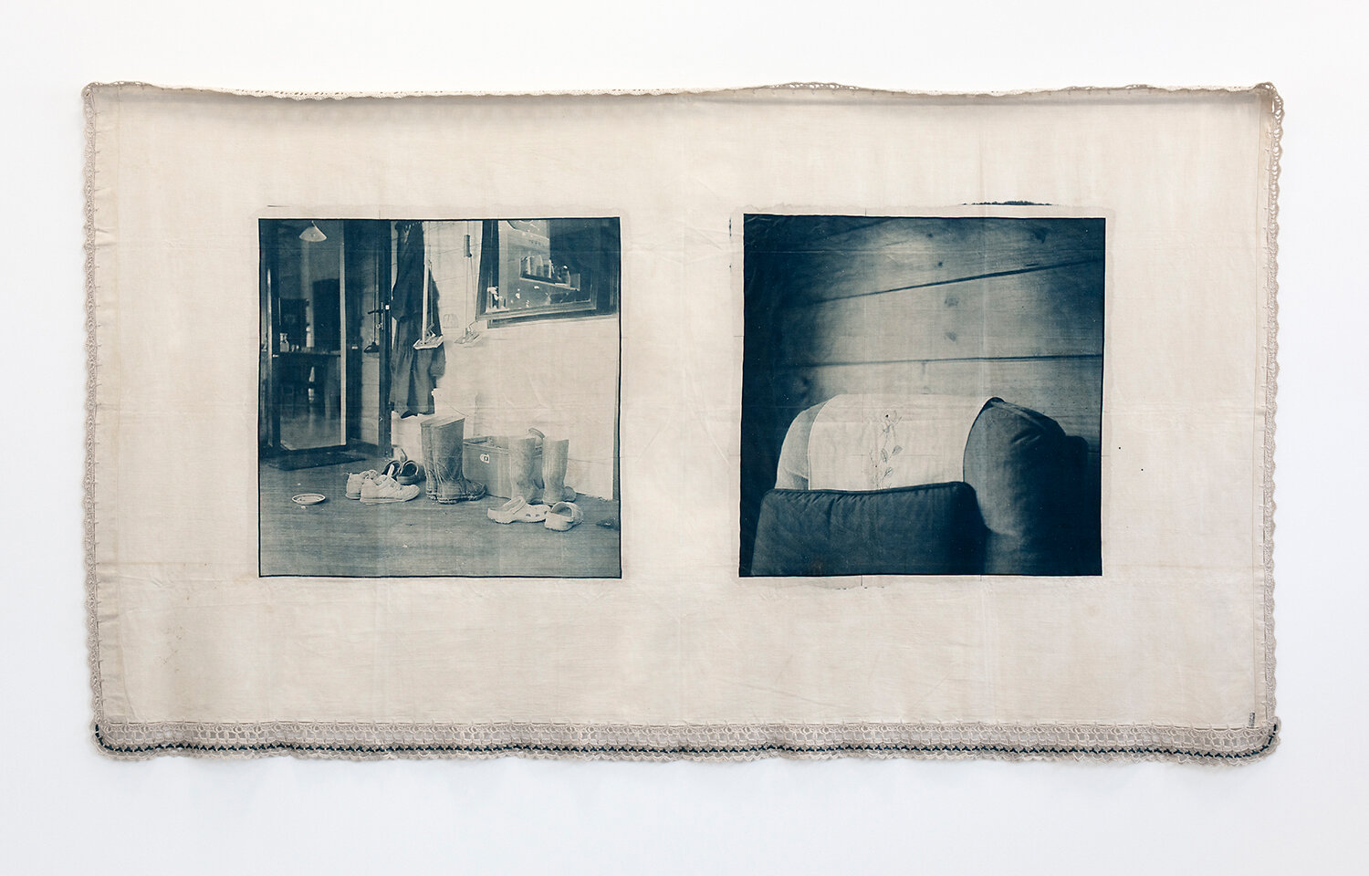Caroline McQuarrie,  Reasons For Silence (ii) , from the series  Reasons For Silence , cyanotype and wool embroidery on vintage cotton bed sheet, 2010. Courtesy the artist.