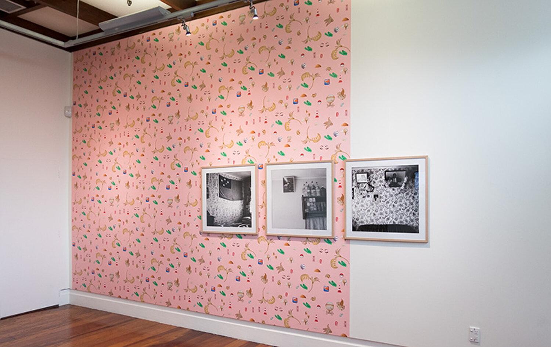 Louisa Afoa,  The Kitchen , digital photograph, 2011;  Ruebens Room , digital photograph, 2011; and  Orion , digitally printed wallpaper, 2017. Exhibited at Corban Estate. Photograph: Artsdiary. Courtesy of the artist.