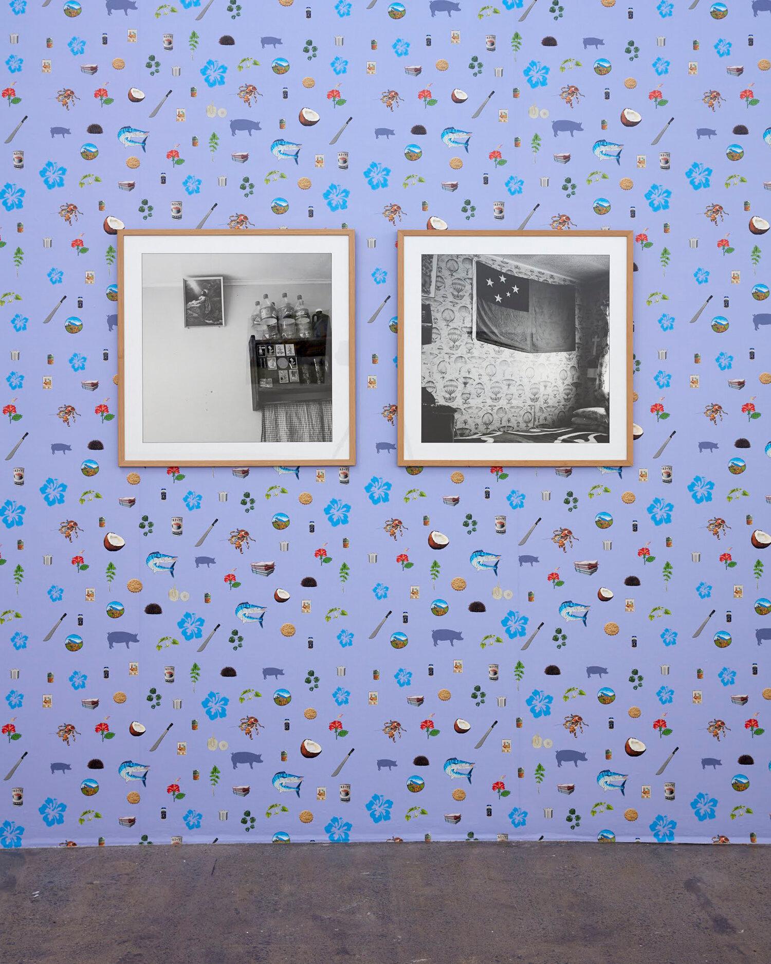 Louisa Afoa,  The Kitchen , digital photograph, 2011;  Ruebens Room , digital photograph, 2011; and  Untitled , ' Kai as Koha ', digitally printed wallpaper, 2019. Exhibited at Artspace. Photograph: Sam Hartnett. Courtesy of the artist.