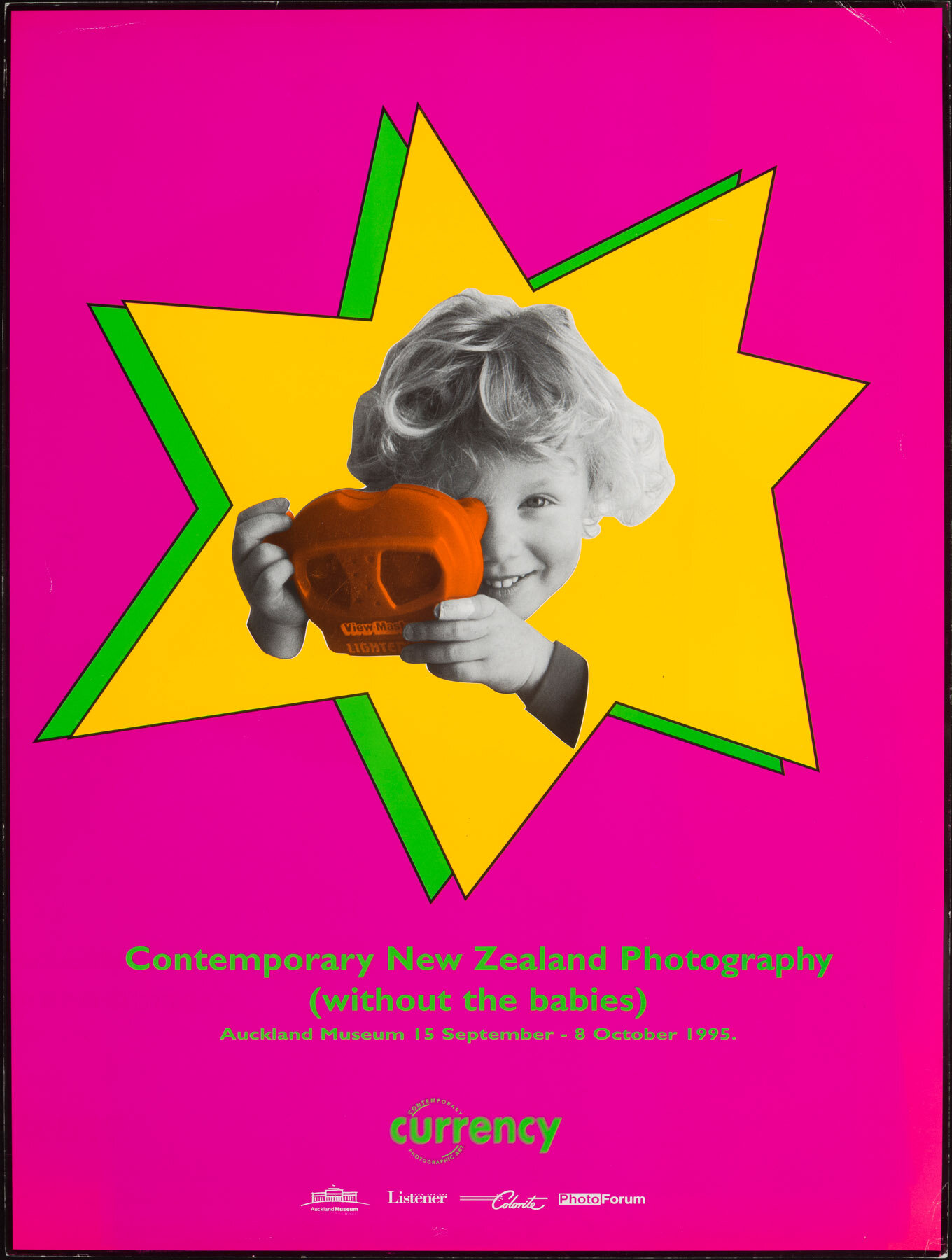 Poster for  Currency - Contemporary New Zealand Photography (without the babies) , Auckland Museum, 1994