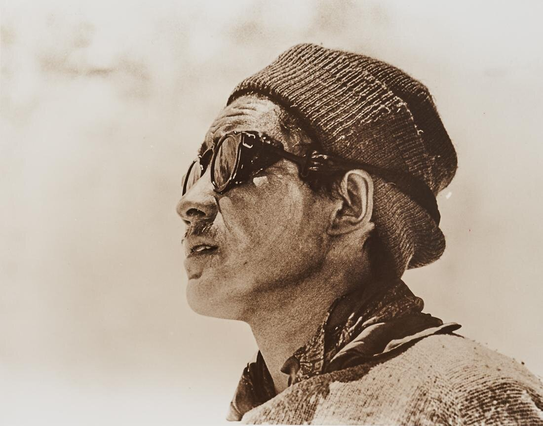 Alfred Gregory  Tenzing  1953 silver gelatin print signed  Alfred Gregory  and inscribed  Everest 1953/Tenzing/Photo  in ink verso 225mm x 290mm. Estimate $600 - $900