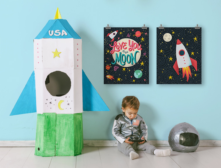 Love you to the moon art print | Home Again Creative