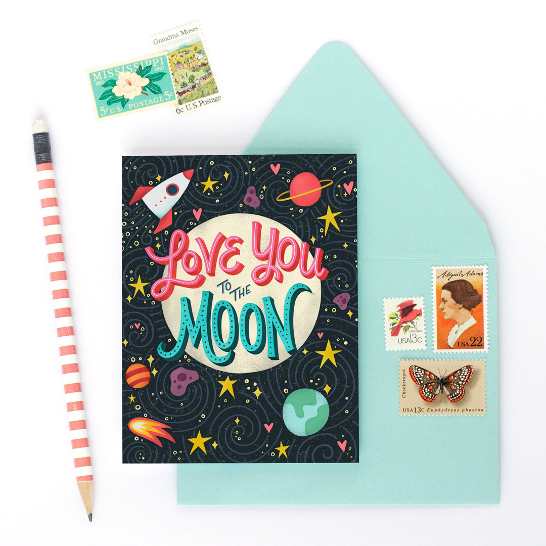 Love you to the Moon greeting card | Home Again Creative