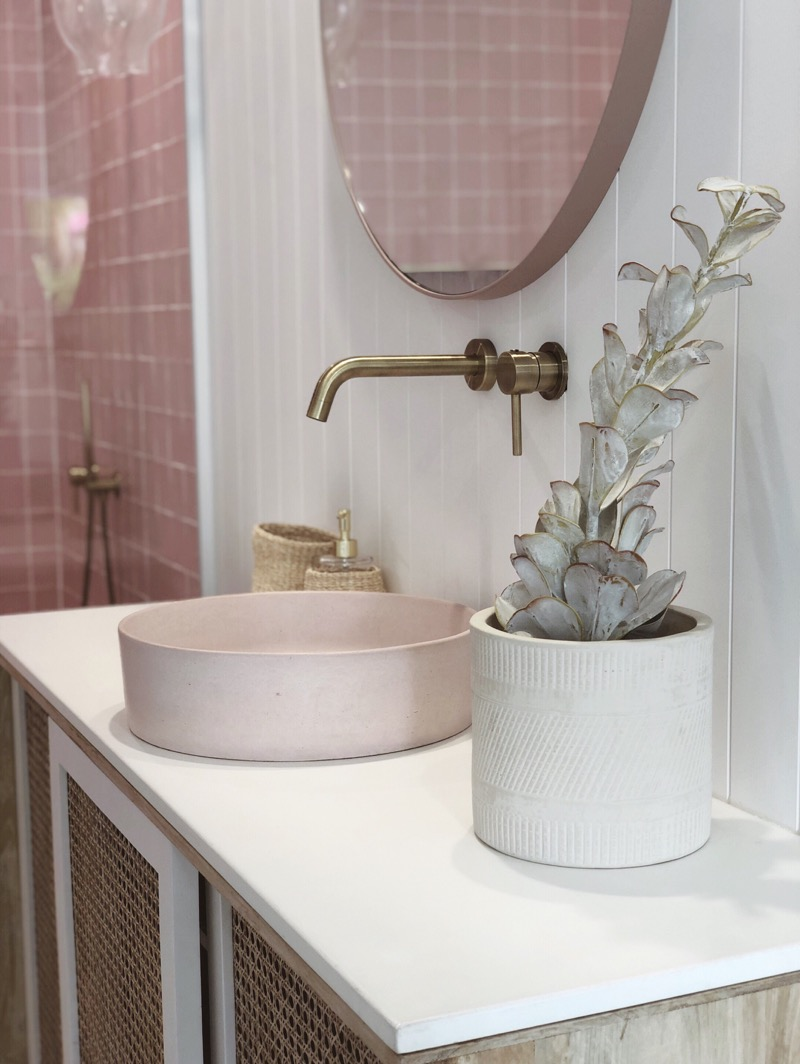 Our Halo Basin in Dusty Pink with tapwear by our friends at ABI Interiors