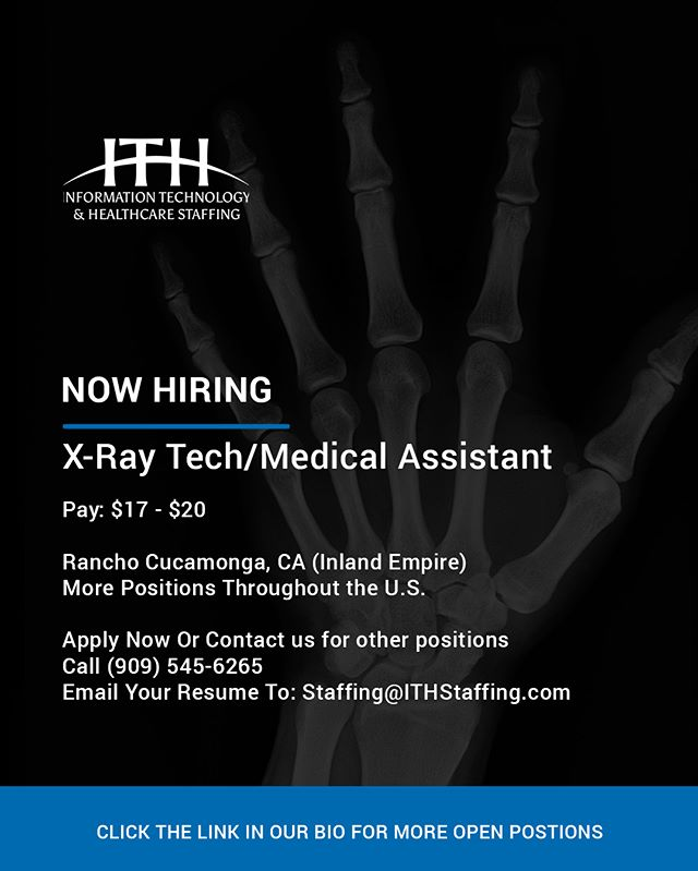Looking for a FT X-Ray Tech/Medical Assistant position in an environment that is fun and creative?  Our client is rated 5 stars on Google, their urgent care has the latest innovation and technology. The team is friendly and helpful. - Position Summary: A Limited X-ray/CRT/Medical Assistant is an employee who performs radiological duties in compliance with x-ray department and legal requirements. Help patients feel comfortable during entire process. Perform medical assisting and administrative/clerical duties that assist in the delivery of primary health care and patient care management under the direction of a physician. - Minimum Requirements / Work Experience: 3 years current experience as a Medical Assistant/Ltd X-ray Tech or CRT. Good communication skills. Experience with EPIC electronic medical records is a plus.  Education / Licensure / Certification: High School Diploma or equivalent. Completion of a course in limited-scope/basic/LMRT/NCT radiological course or completion of CRT radiological course. Completion of Certified Medical Assistant Program. Limited/Basic/NCT/LMRT permit in Radiology or CRT permit in Radiology. Certification obtained from an accredited Medical Assisting Program. Current BCLS certification.  #MedicalAssistant #Medicalassistantjobs #Xraytech #Xraytechjobs #Healthcare #ITHStaffing #healthcarejobs