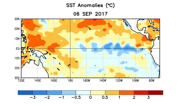 Figure 5. Average outgoing longwave radiation (OLR) anomalies (W/m2) for the period 11 August – 5 September 2017. OLR anomalies are computed as departures from the 1981-2010 base period pentad means.  Courtesy - Climate Prediction Center NOAA / National Weather Service