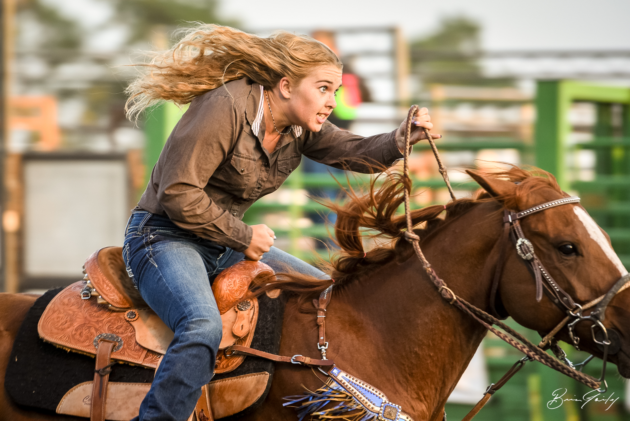 Barrel Racing at the rodeo in a small arena has its challenges but this rider shows how it is done.  Image:  Brian Gailey  Tulelake Butte Valley Fair 2017