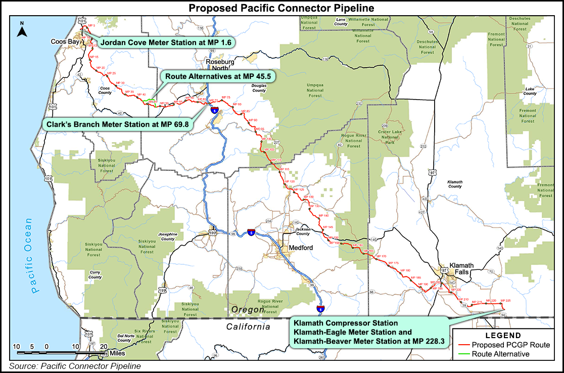 Proposed route of Pacific Connector Pipeline through Southern Oregon.