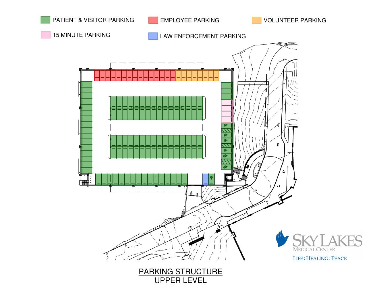 Parking schematic of the upper deck of the new parking structure at Sky Lakes Medical Center (Sky Lakes)