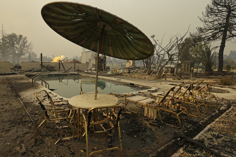 Fire burns from an open gas valve near the pool area at the Journey's End trailer park on Monday, Oct. 9, 2017, in Santa Rosa, Calif., after a wildfire destroyed nearly all of the roughly 160 units in the park for residents over age 55 (AP Photo/Ben Margot)