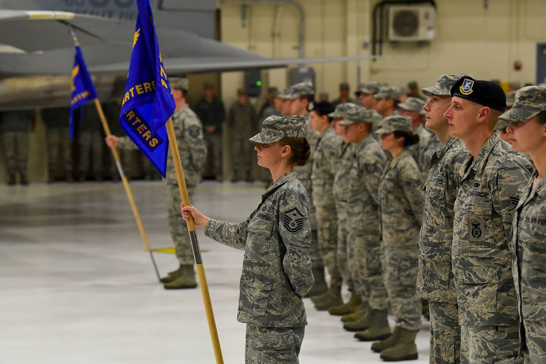 Members of the 173rd Fighter Wing take part in their demobilization ceremony Nov. 4, 2017, at Kingsley Field in Klamath Falls, Ore. The ceremony formally recognized the wildland fire fighters and the 56 Kingsley Field Airmen who deployed during the wing's first ever large-scale deployment throughout 2017. (U.S. Air National Guard photo by Staff Sgt. Riley Johnson)