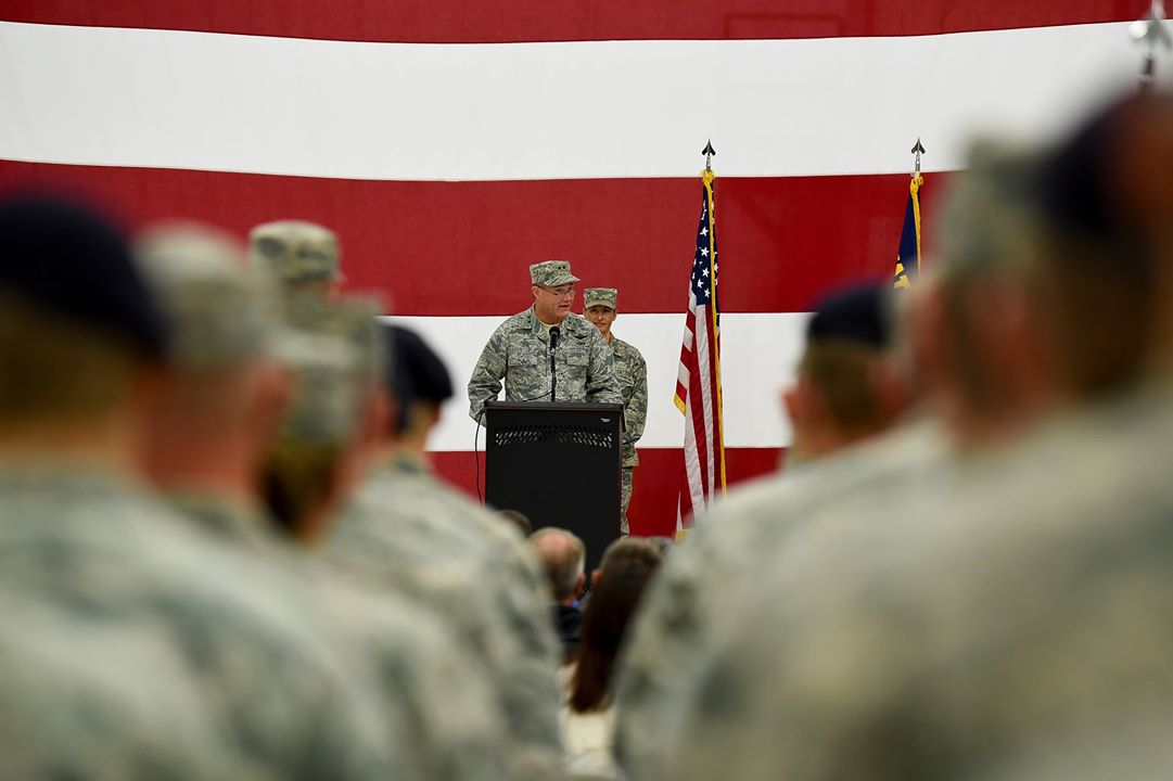 U.S. Air Force Maj. Gen. Michael E. Stencel, The Adjutant General, Oregon, speaks to members of the 173rd Fighter Wing and their families during a demobilization ceremony Nov. 4, 2017, at Kingsley Field in Klamath Falls, Ore. The ceremony formally recognized the wildland fire fighters and the 56 Kingsley Field Airmen who deployed during the wing's first ever large-scale deployment throughout 2017. (U.S. Air National Guard photo by Staff Sgt. Riley Johnson)