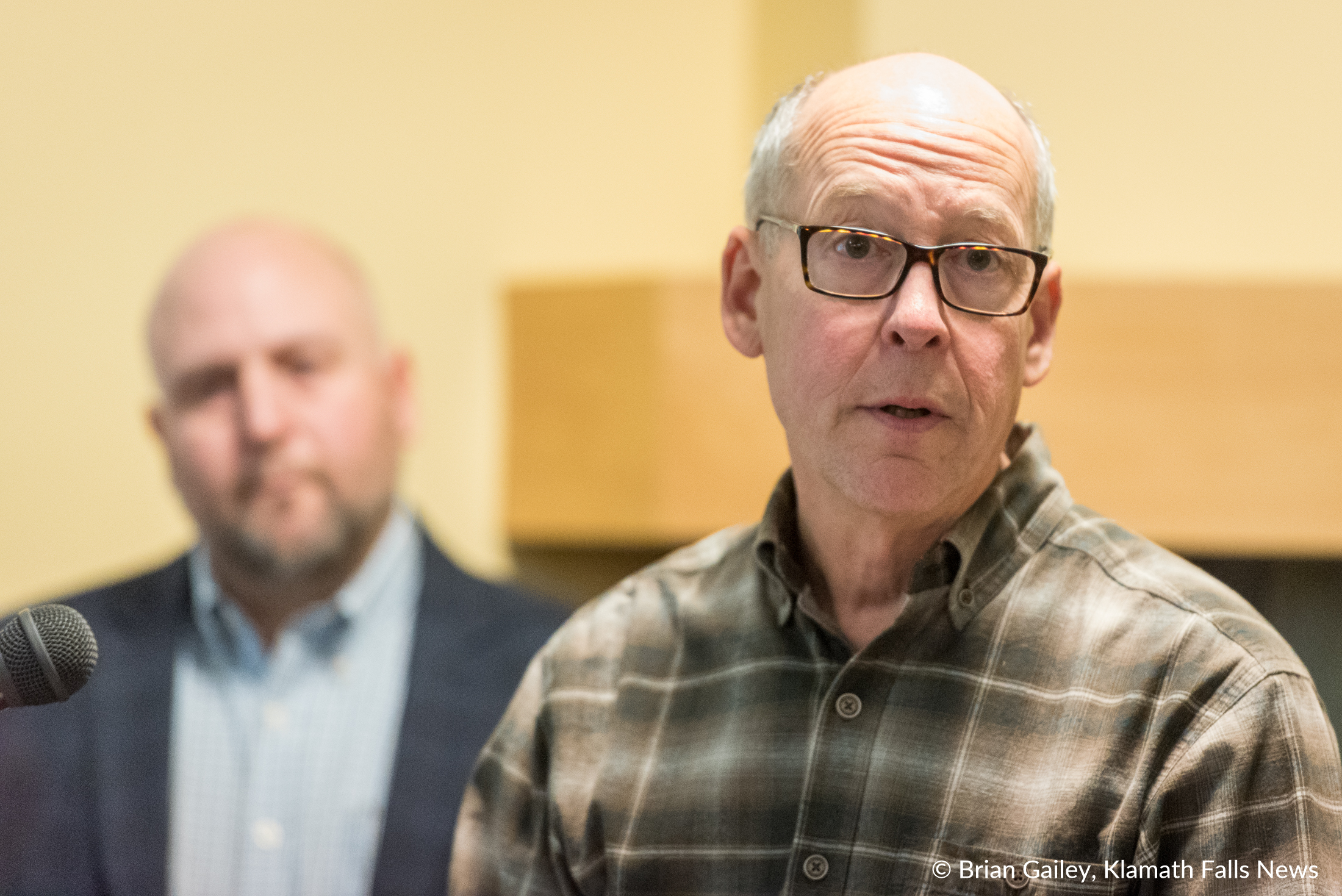 Congressman Walden Announces Klamath Infrastructure Improvement Act to a standing room only crowd at the Klamath County Chamber of Commerce. (Brian Gailey)