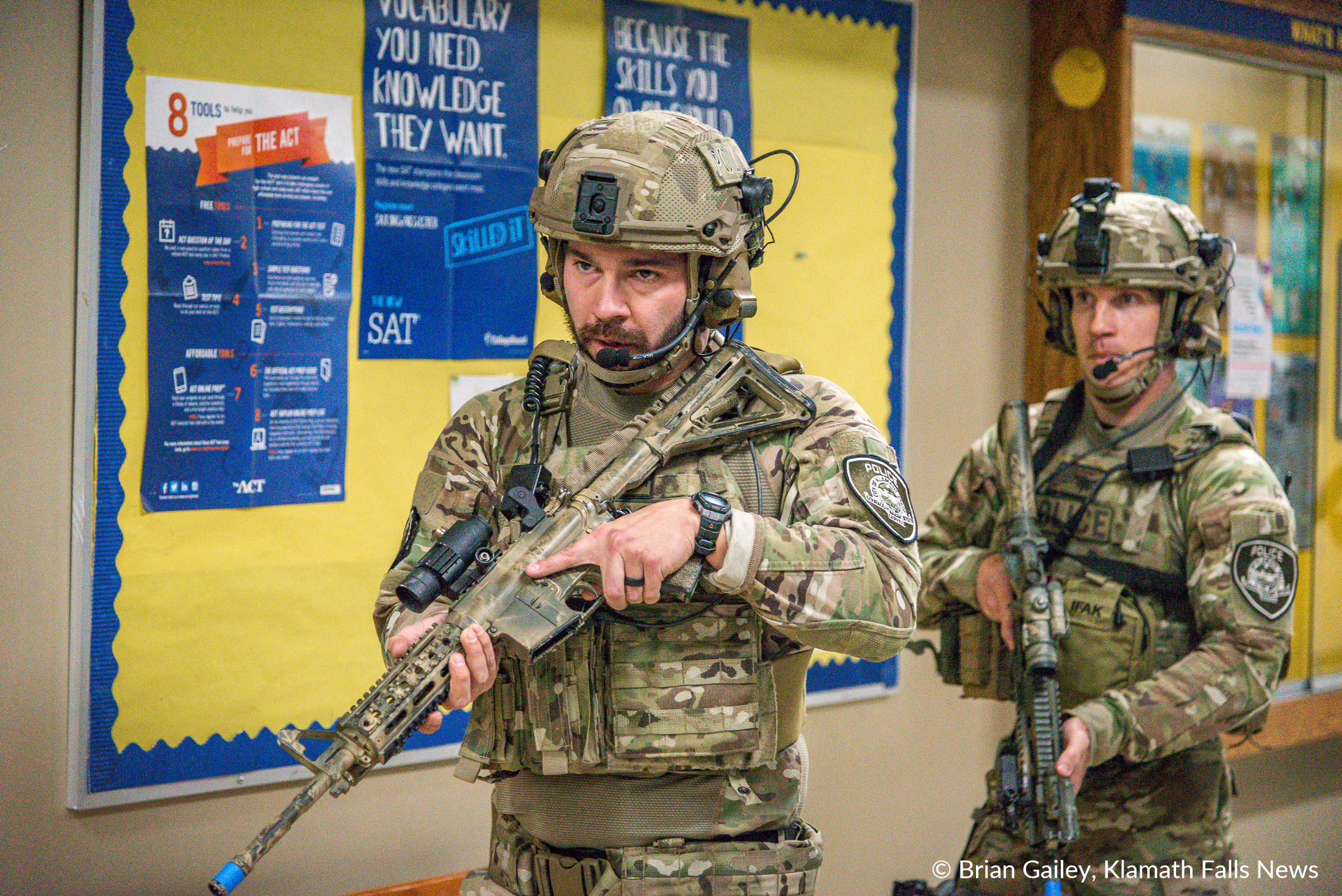 This image is part of a photo story about First Responders and faculty/staff of the Klamath County School District used Henley High School in an Active Shooter Drill on Nov. 9, 2017. (Image: Brian Gailey)  Full Story: https://kfne.ws/2yZaYQw