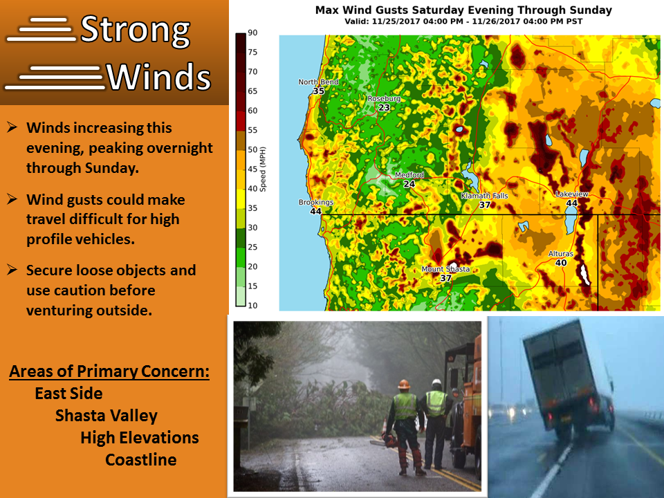 A detailed picture where wind gusts will be the strongest with our next storm. (NWS Medford, Ore.)
