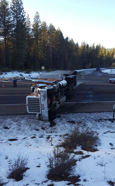 Overturned cattle truck near West Side Road and Highway 140 at Rocky Point. Image by Kathy Johnson-Haas