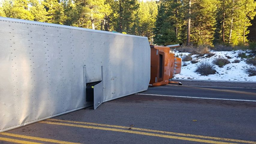 Overturned cattle truck near West Side Road and Highway 140 at Rocky Point. Image by Kathy Johnson-Haas.