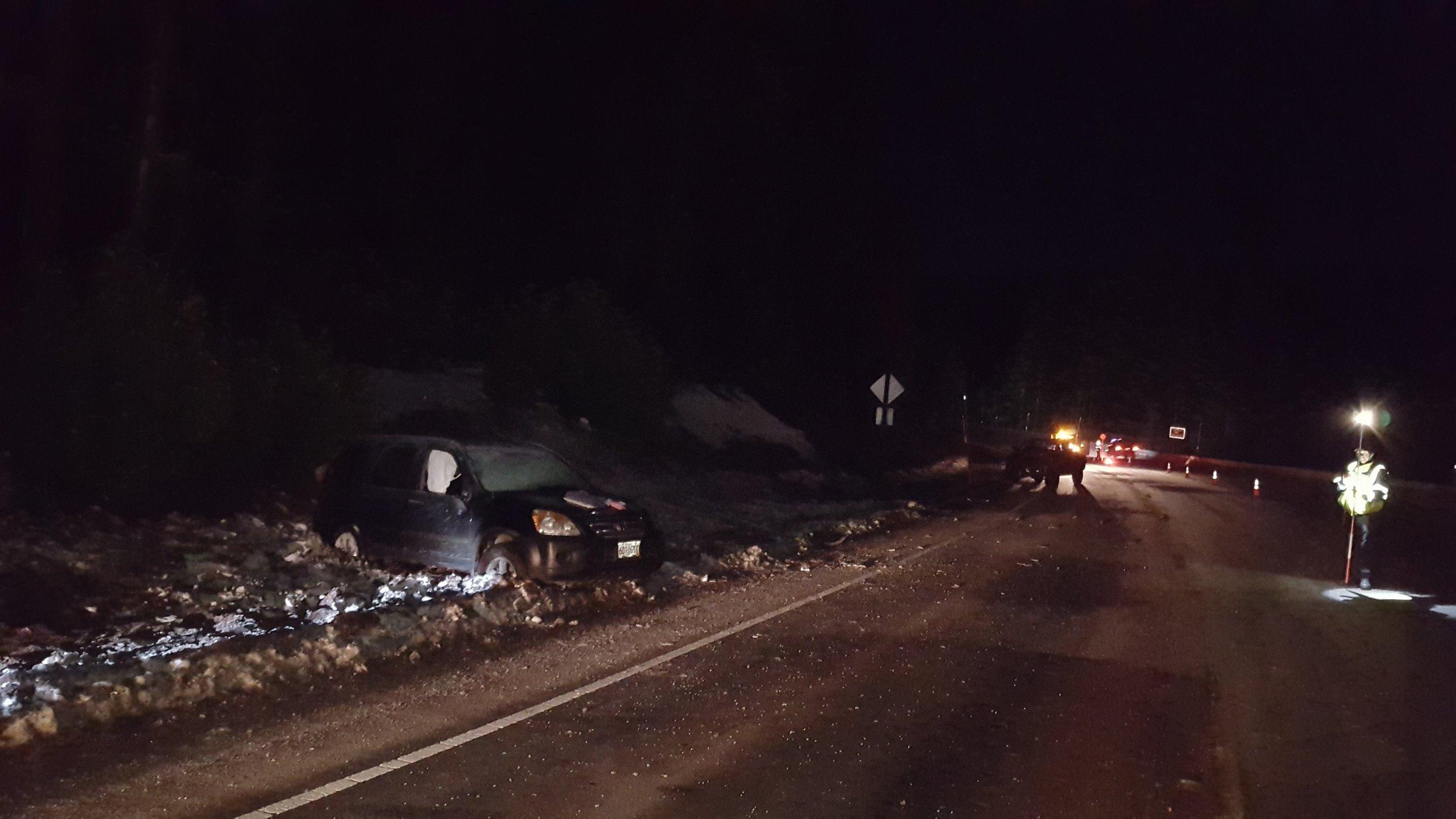 Fatal crash on Oregon Highway 58 near Salt Creek Falls and Tunnel, December 30, 2017 (Oregon State Police)