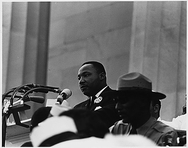 Dr. Martin Luther King Jr. addressing the crowd at the Civil Rights March 8/28/1963 (US National Archives)