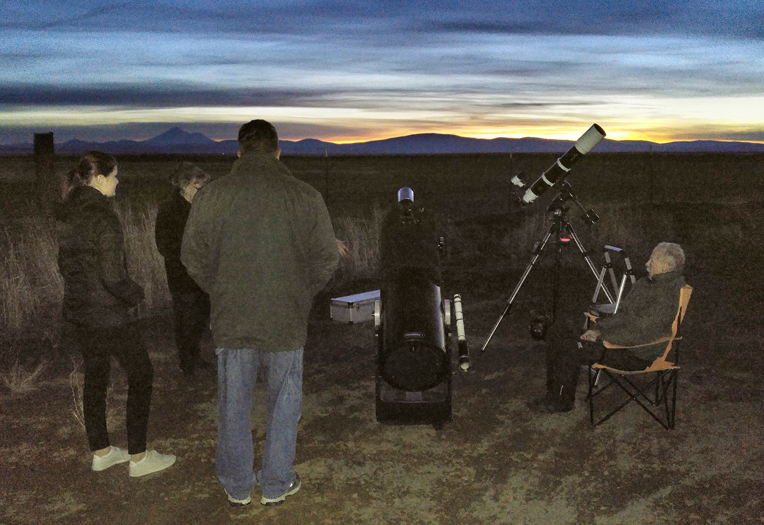 Star party participants gather at a museum-sponsored star party last month on Stateline Road. Another astronomy event will be offered Saturday, Feb. 10. (Klamath County Museum)