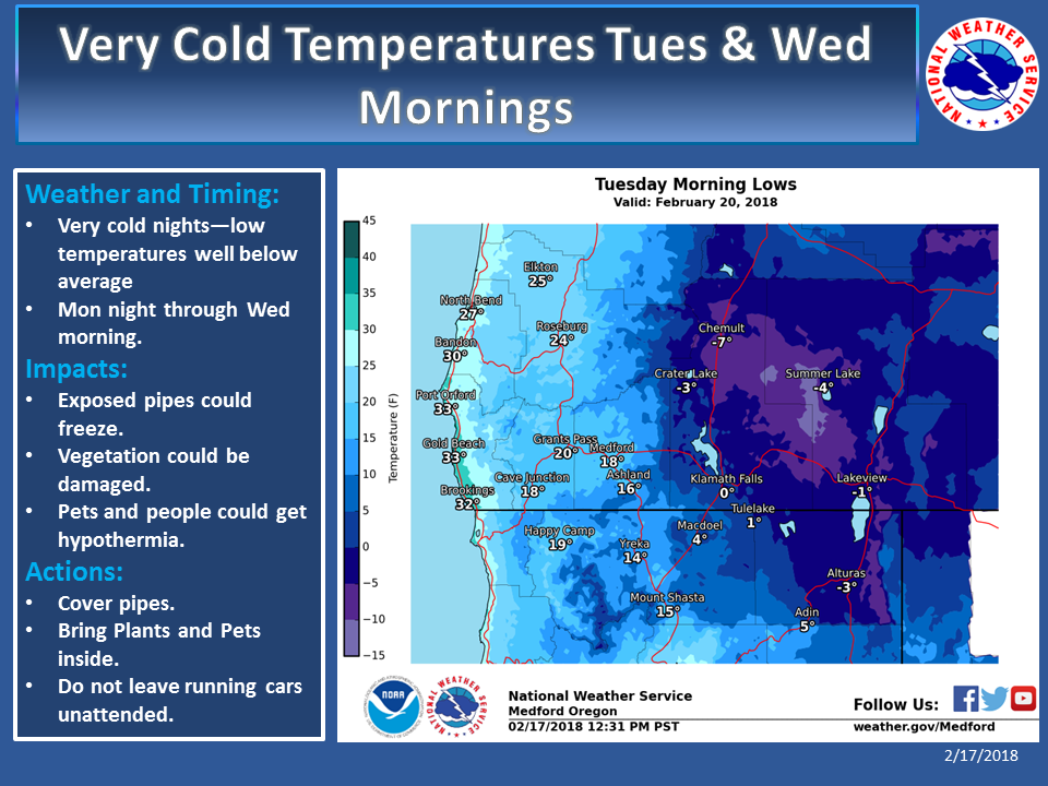 After the system passes through on Monday, clearing skies and an arctic air mass will allow for temperatures to plummet to well below average Monday night into Wednesday morning. These temperatures could cause exposed pipes to freeze and damage sensitive vegetation. Be sure to cover pipes and protect any sensitive vegetation. Don't forget about pets! A good rule is that if it's too cold for you, it's too cold for them. Bring them in for the night or make sure they have safe, adequate shelter. Temperatures should begin moderating Wednesday night into Thursday.