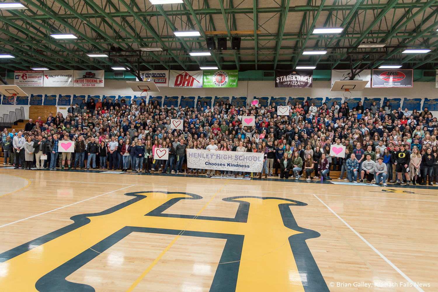 A Henley High School student led assembly to walk up in support for Marjorie Stoneman DouglasHigh School rather than walking out in protest of Gun Control honored the 17 lives lost at the Parkland Shooting. March 14, 2018. (Brian Gailey)