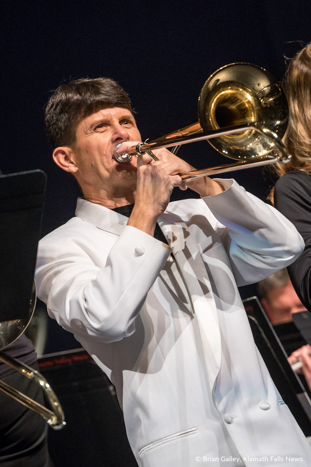 Jazz Trombonist, Harry Watters plays with the Klamath Falls Community Band. March 18, 2018 (Brian Gailey)