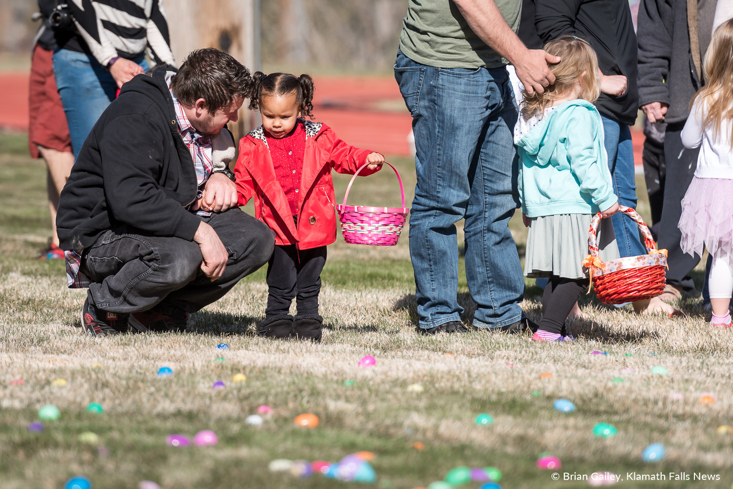 Children anxiously wait for the annual Easter Egg Scramble hosted at Oregon Tech. March 31, 2018 (Brian Gailey)