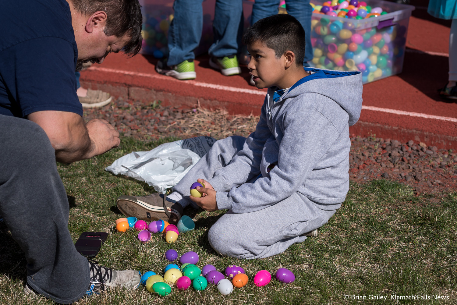 Don't blink or you will miss it. Easter Egg Scramble hosted at Oregon Tech. March 31, 2018 (Brian Gailey)