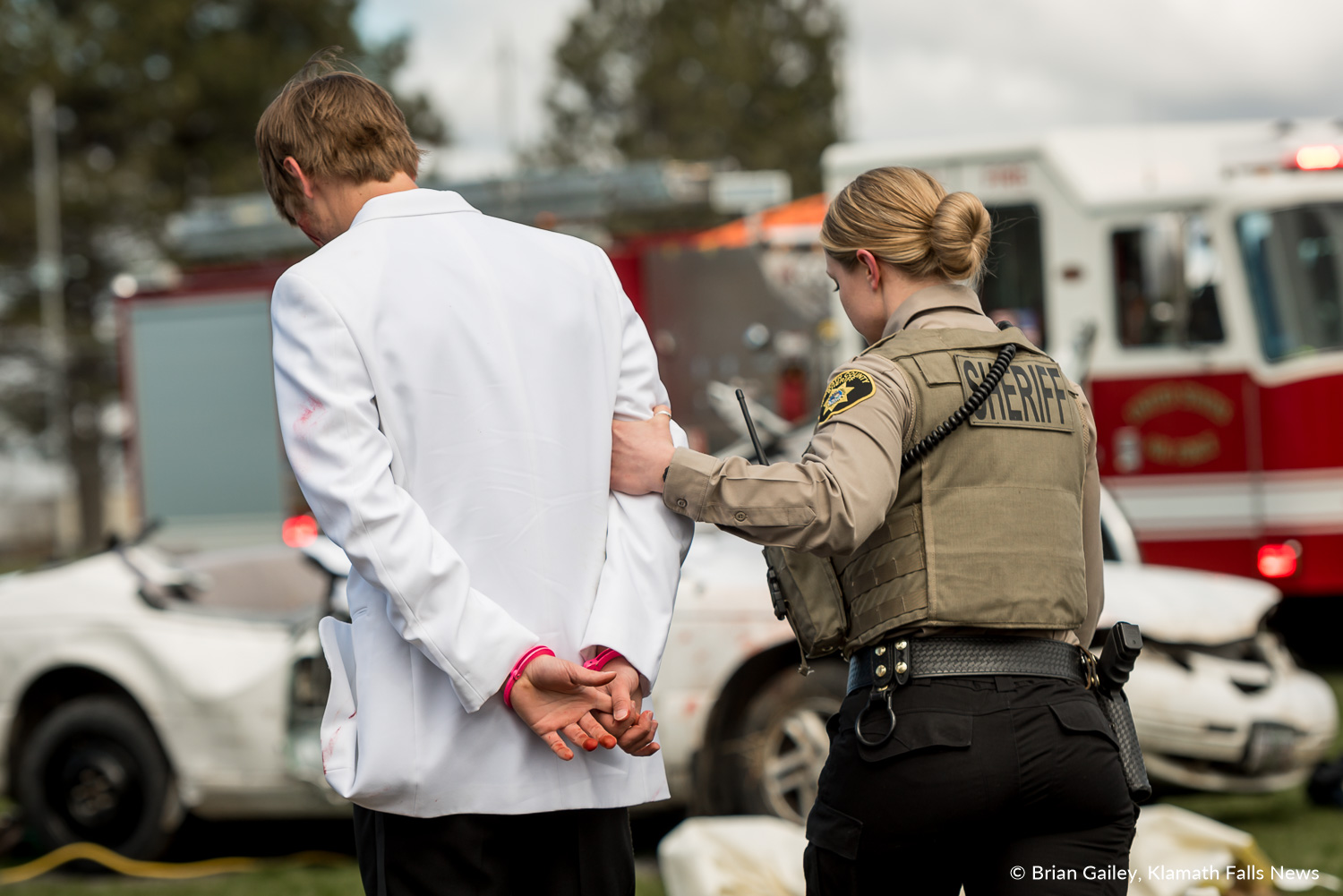 Operation Prom Night, a staged DUII car crash to teach teens the reality of drinking and driving. April 19, 2018 (Brian Gailey)