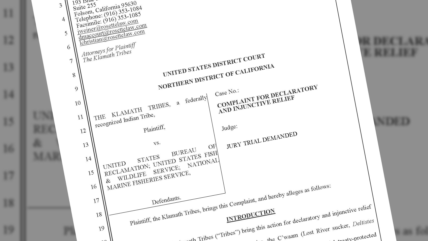 Klamath Tribes file lawsuit in US District Court, Northern District of California to protect Tribal fisheries. May 24, 2018.