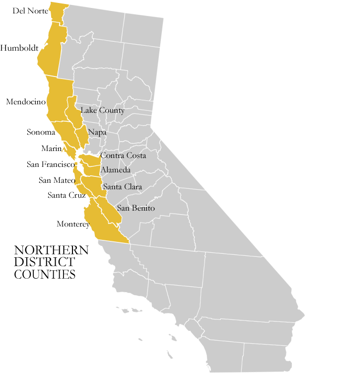 Jurisdiction map  of US District Court of Northern California (USCourts.gov)