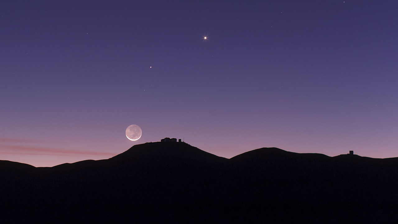 Crescent Moon and Earthshine.  ESO Flickr