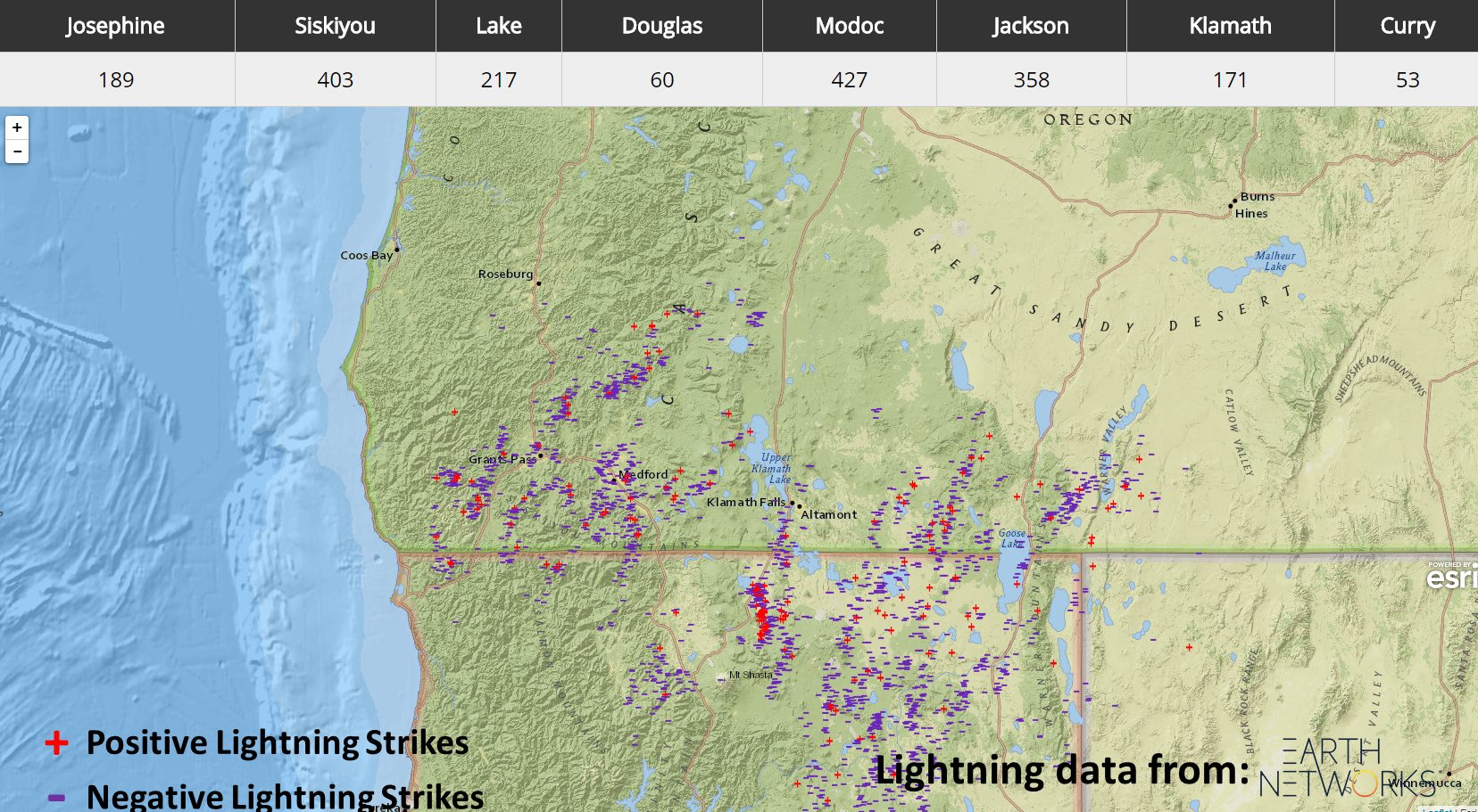 Map of lightning strikes in the Southern Oregon, Northern California area for July 15, 2018.