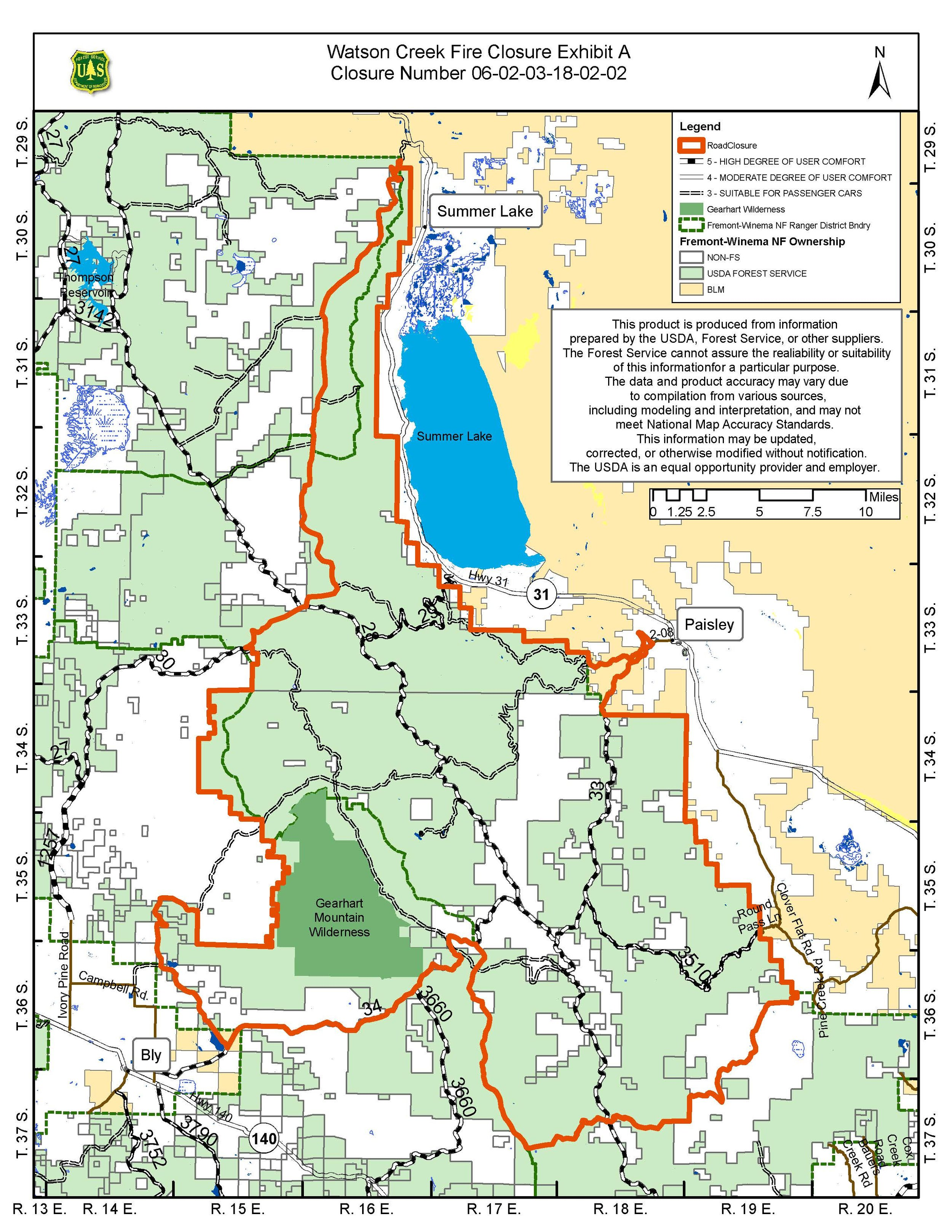 Emergency Fire Closures for the Fremont-Winema National Forest. Due to the Watson Creek Fire near Paisley, Oregon. CLICK FOR LARGER.
