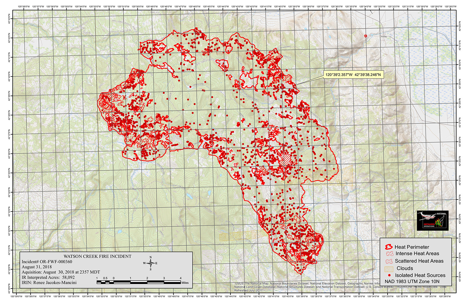 Infrared Map Watson Creek Fire CLICK FOR LARGER