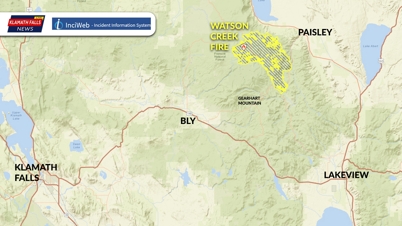 Area map of the Watson Creek Fire. 58,092 Acres with 80% containment located 6 miiles west of Paisley Oregon.
