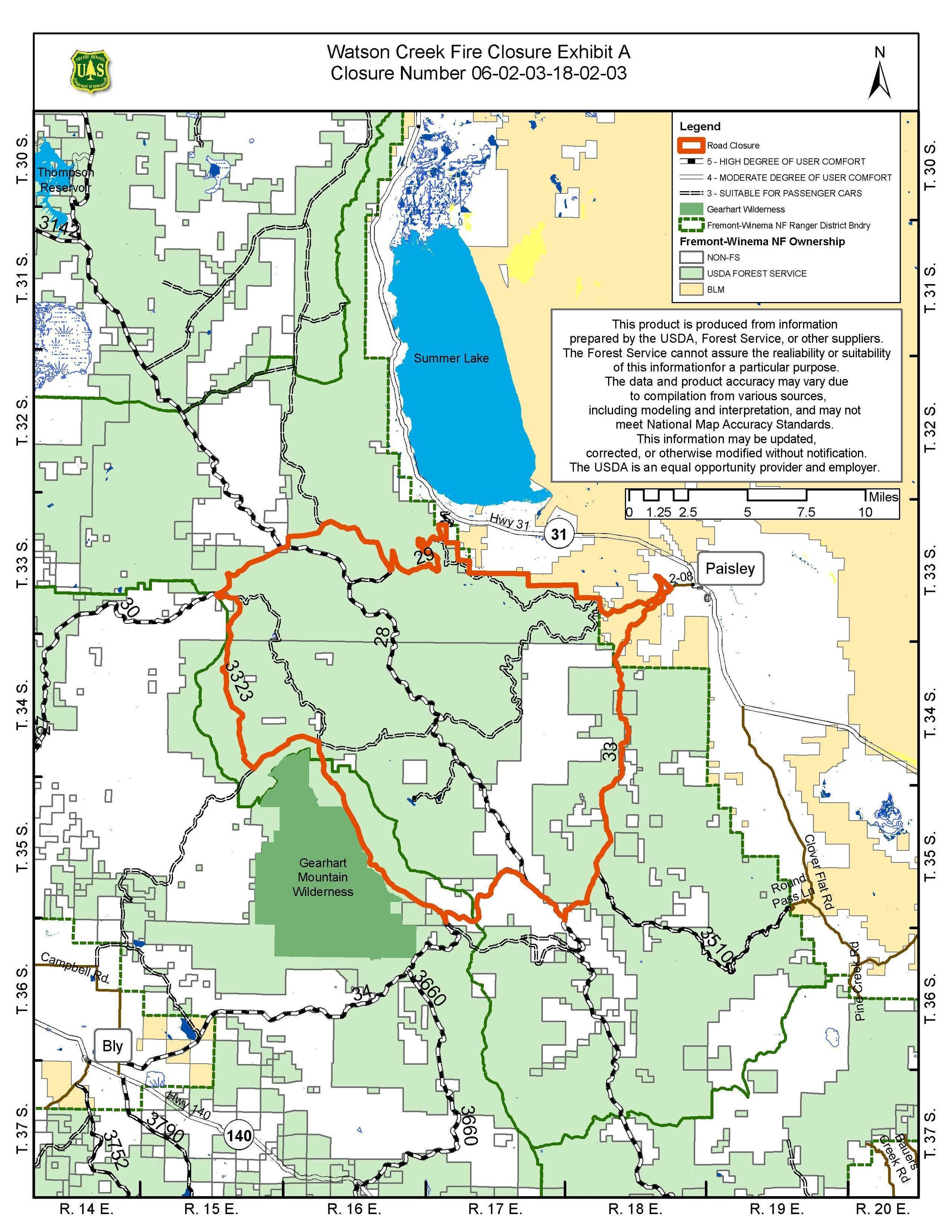Watson Creek Fire, Closure Map for 8/29/18 (Inciweb) CLICK FOR LARGER
