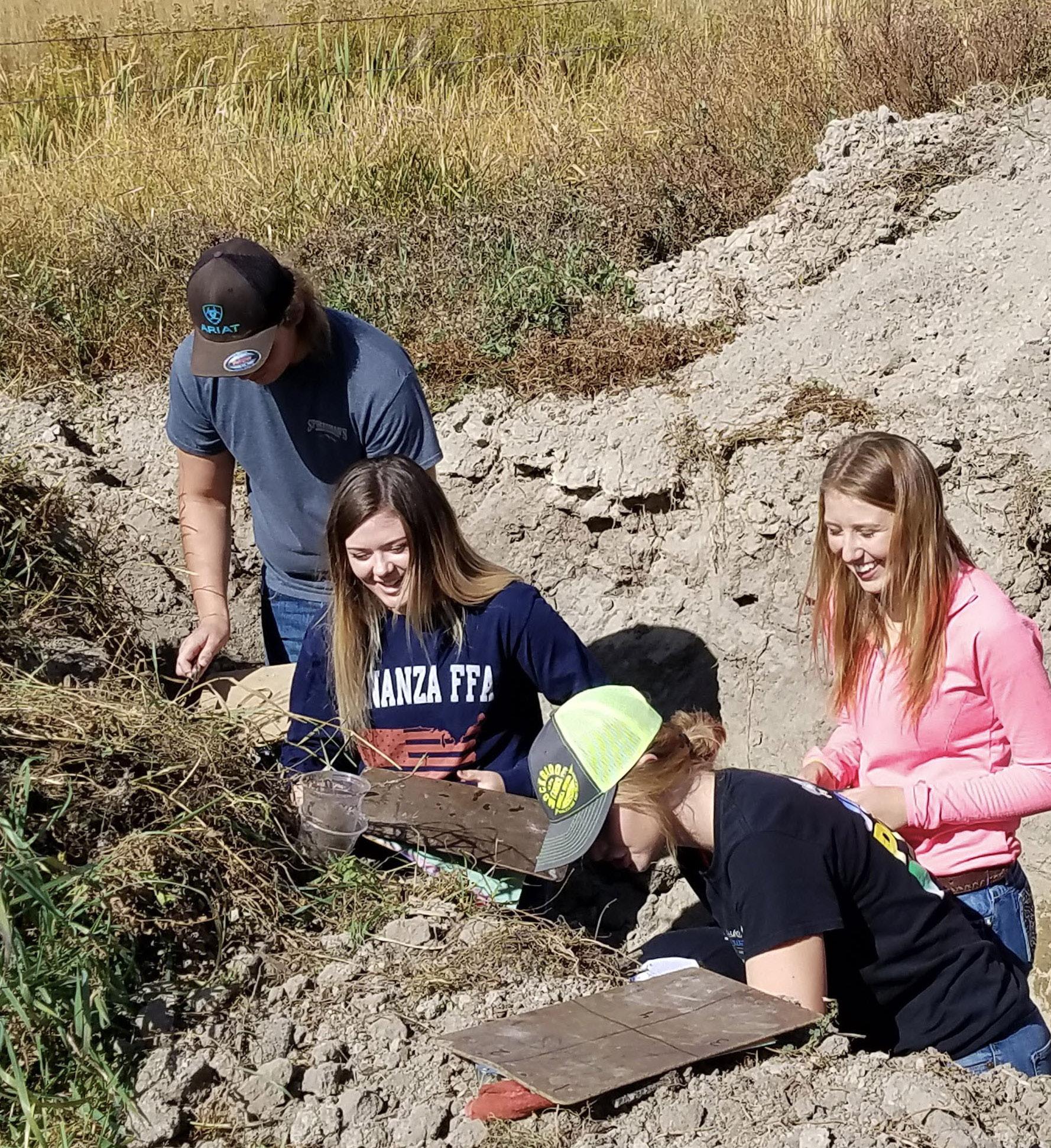 Bonanza FFA members Erik Petersen, Morgan Pitcock, Kailyn Nichols and Barbara Velik extract soil samples from each horizon at the Southern Oregon District Soils Evaluation CDE.