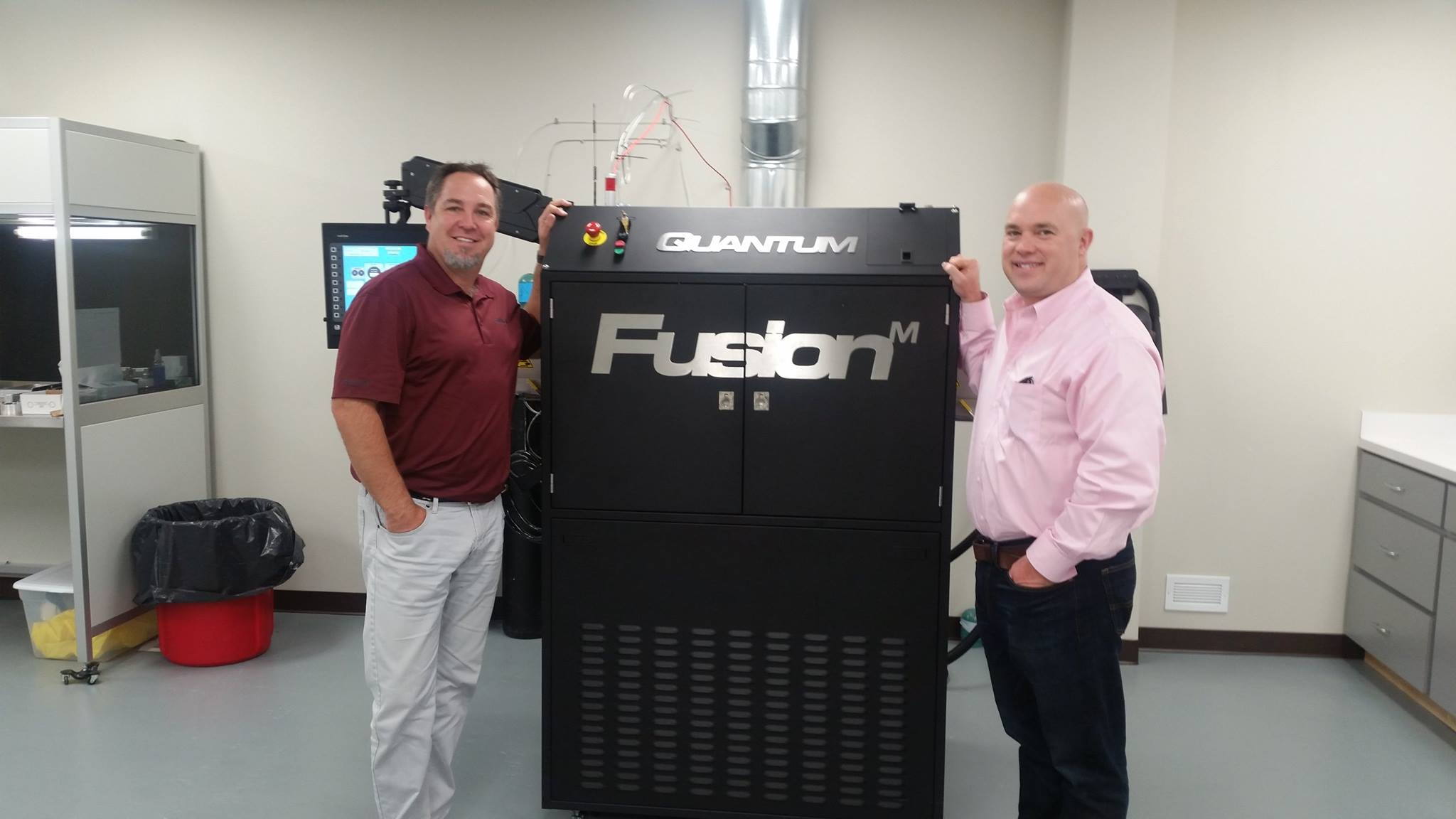 Norm Kester and Dr. Elvin Fenton with the new FusionM at 3D Optical in Texarkana, Texas. ( Quantum Innovations Facebook )