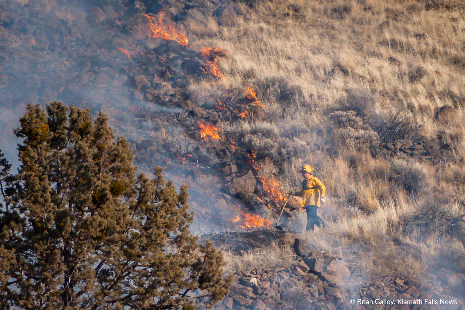 A firefighter uses a tool to stop the spread of a suspicious fire on Stukel Mountain. January 14, 2019 (Brian Gailey)